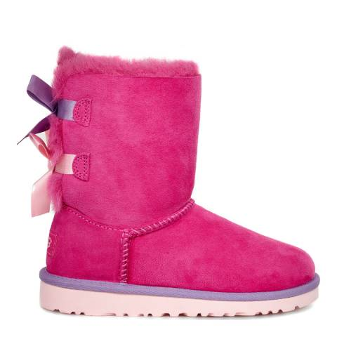 UGG Kid's Pink Bailey Bow Suede Boots