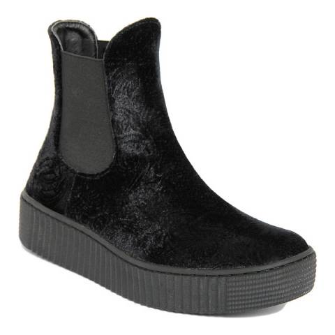 Onako Black Evelin Elastic High Top Chelsea Boots