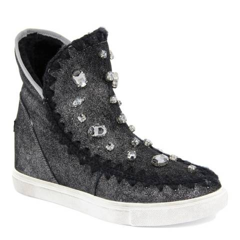 Onako Grey Virginia Laminato Leather High Top Trainer