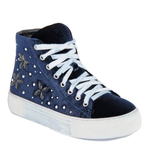 Onako Midnight Blue Karolina Flower Stud High Top Trainer