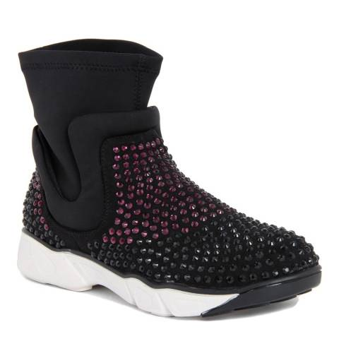 Onako Black/Pink Karen Rhinestone Sock Trainer