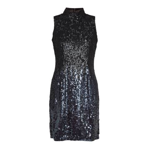 French Connection Gunmetal Starlight Sparkle High Neck Dress