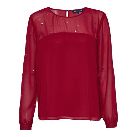 French Connection Berry Red Arctic Spell Top