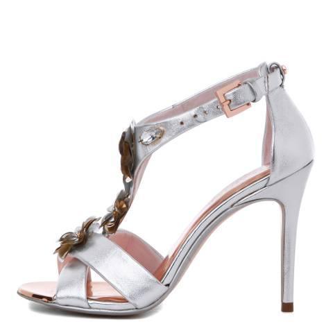 Ted Baker Silver Leather Crezida Embellished Stiletto Sandals