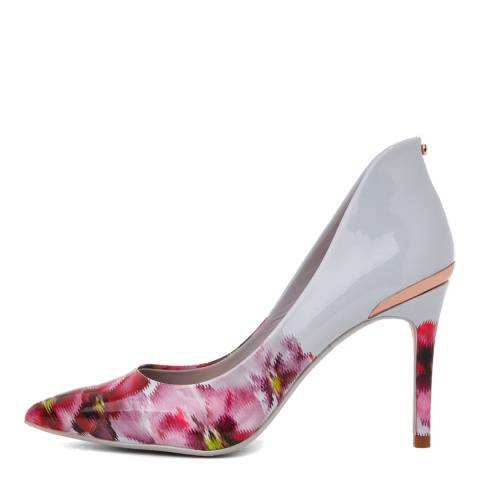Ted Baker White/Print Leather Savei Expressive Pansy Court Shoes