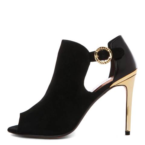 Ted Baker Black/Gold Suede Sandrouse Heel Ankle Boots