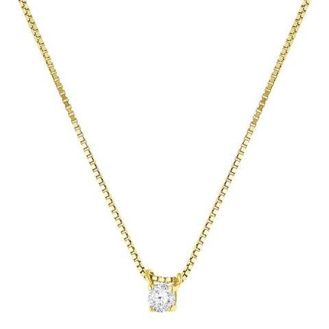 Diamant & Argent Yellow Gold Solitaire Diamond Necklace
