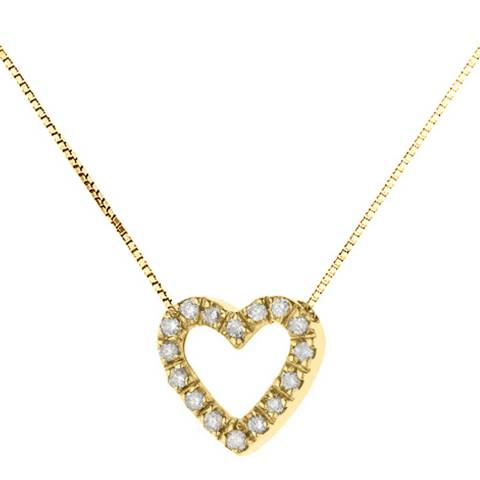 Diamant & Argent Yellow Gold Heart Diamond Necklace