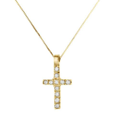 Diamond Design Yellow Gold Cross Diamond Necklace
