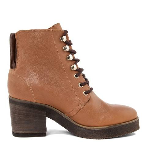 light brown leather lace up high heel ankle boots brandalley