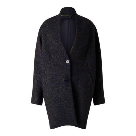 Jigsaw Womens Petrol Mohair Melange Cocoon Coat