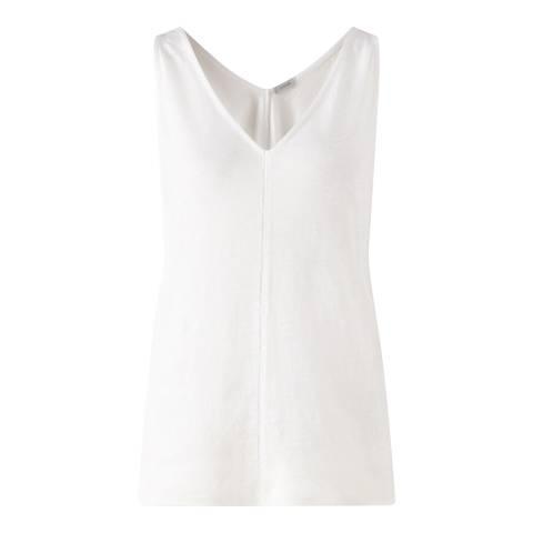 Jigsaw Womens White Cross Stitch Linen Tank Top