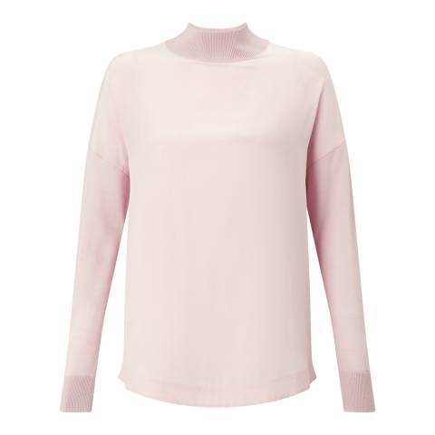 Jigsaw Womens Rose Water Silk Fronted Wool Jumper