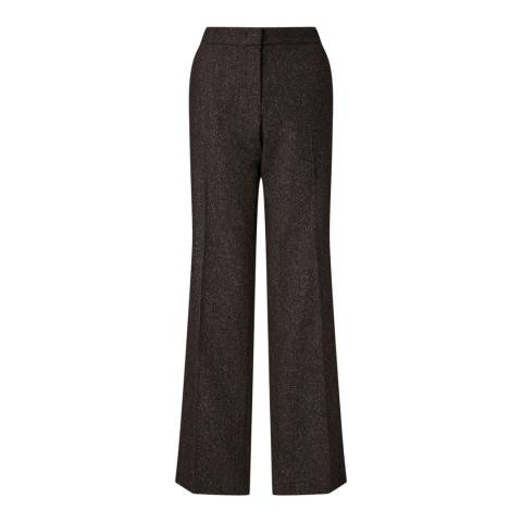 Jigsaw Womens Dark Brown Herringbone Parallel City Wool Blend Trousers