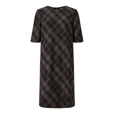 Jigsaw Womens Black Plaid Flannel Wool Dress