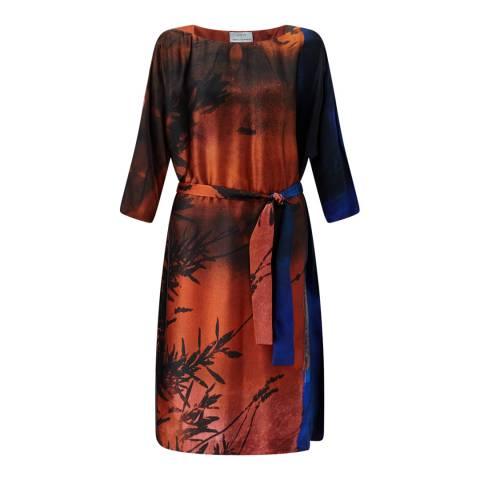 Jigsaw Womens Orange Winter Sunrise Silk Dress