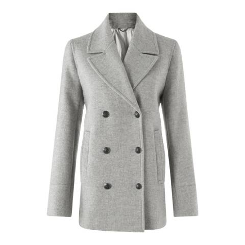 Jigsaw Womens Light Grey Wool Pea Coat