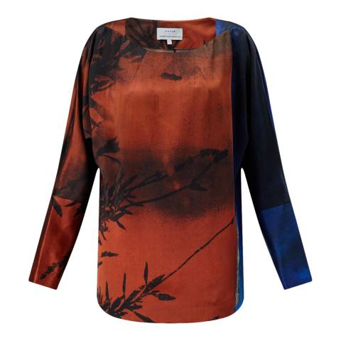 Jigsaw Womens Orange Winter Sunrise Silk Top