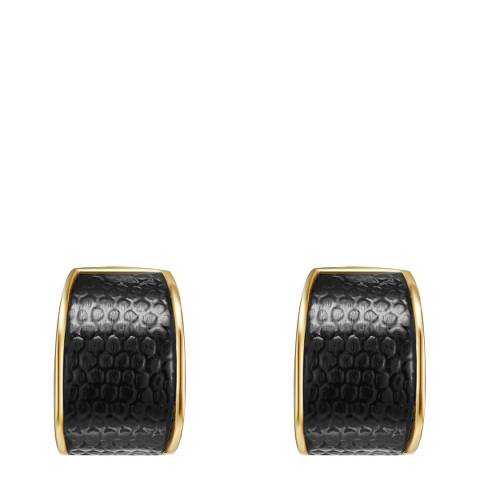 Runway Black/Gold Hoop Earrings