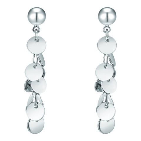 Runway Silver Disc Drop Earrings