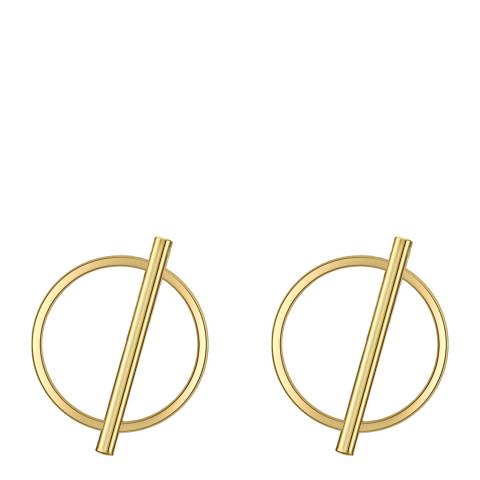 Tassioni Gold Circle Line Earrings