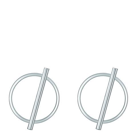 Runway Silver Circle Line Earrings
