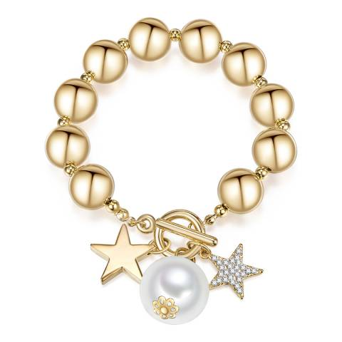 Runway Gold Pearl Charm Bracelet