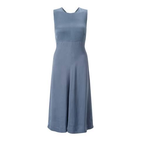 Jigsaw Womens Rain Blue Hammered Silk Salena Dress