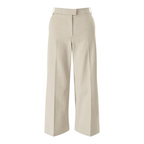 Jigsaw Womens Beige Lux Panama Crop Flare Trousers