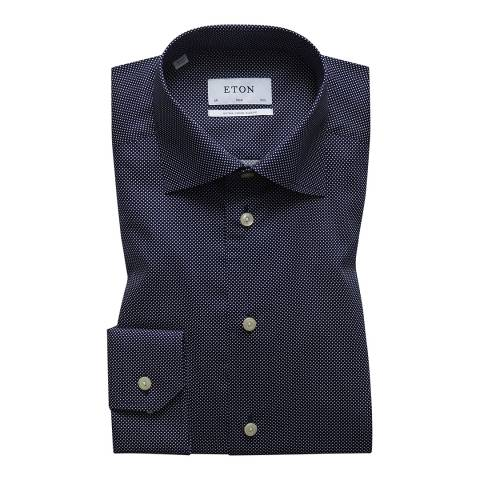 Eton Shirts Black Polka Dot Extra Long Sleeve Cotton Slim Fit Shirt
