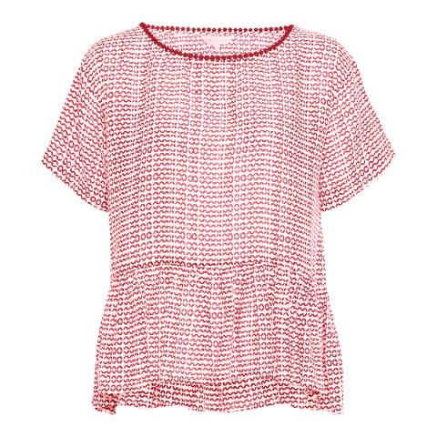 Great Plains Cream/Red Ditsy Daydream Peplum Top