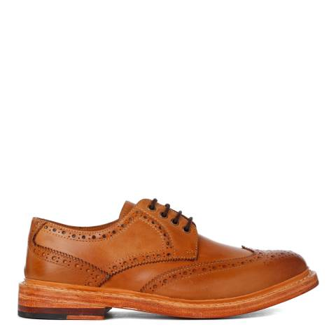 Justin Reece Mens Brown Leather Stan Formal Shoes