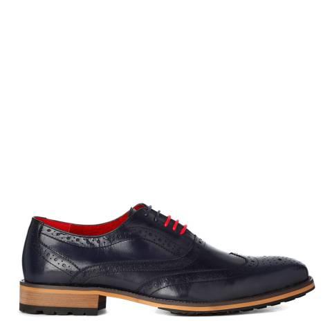 Justin Reece Mens Navy Blue Leather Oliver Shoes