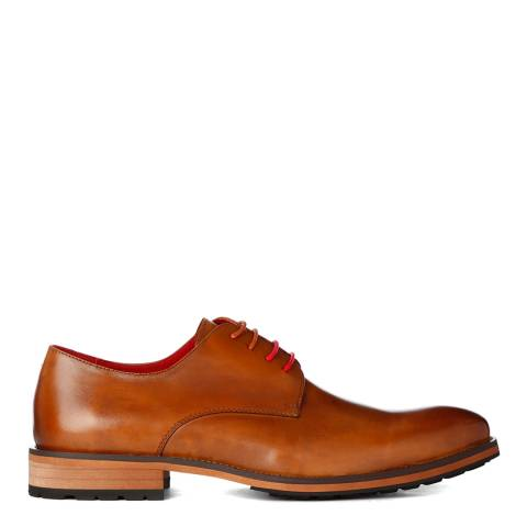 Justin Reece Mens Brown Leather Zach Derby Shoes