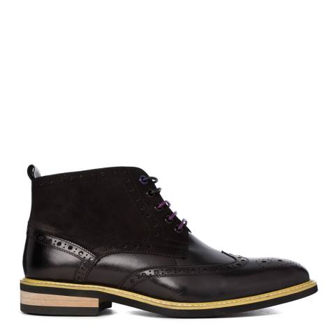 Justin Reece Mens Black Leather Matthew Brogue Boots