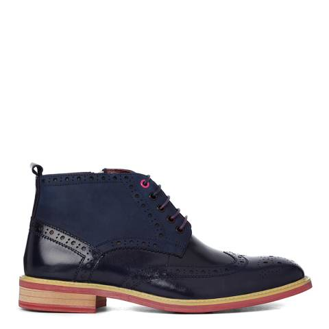 Justin Reece Mens Navy Leather Matthew Brogue Boots