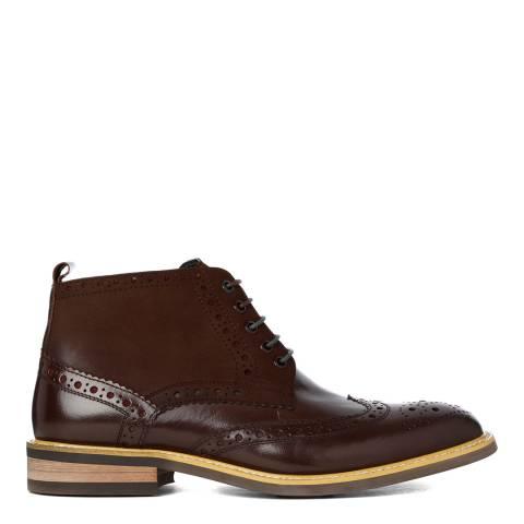 Justin Reece Mens Dark Brown Leather Matthew Brogue Boots