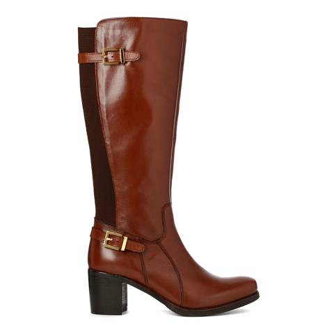Justin Reece Womes Brown Leather Jolie Calf Boots