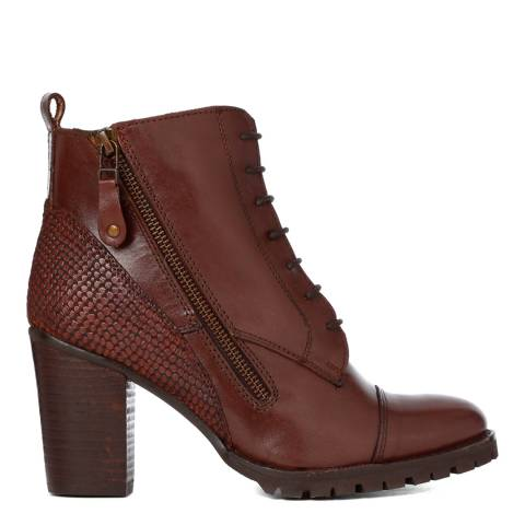 Justin Reece Womens Brown Leather Hilary Ankle Boots