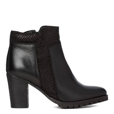 Justin Reece Womens Black Leather Sally Ankle Boots