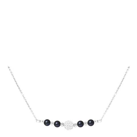 Just Pearl Silver/Black Pearl Necklace