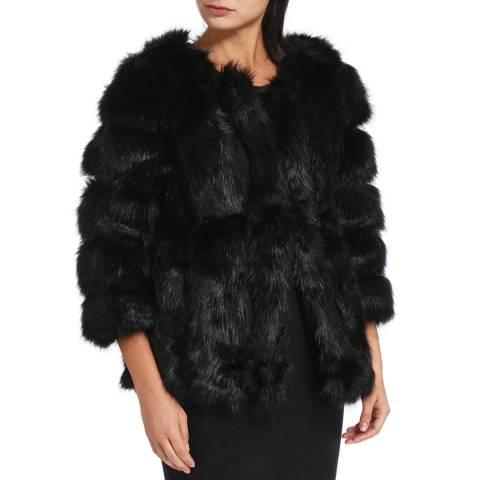 JayLey Collection Black Luxury Faux Fur Silk Blend Coat