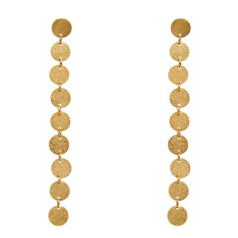 Amrita Singh Gold Clarita Long Disc Earrings