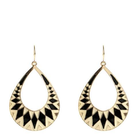 Amrita Singh Black/Ivory Enamel Shield Earring