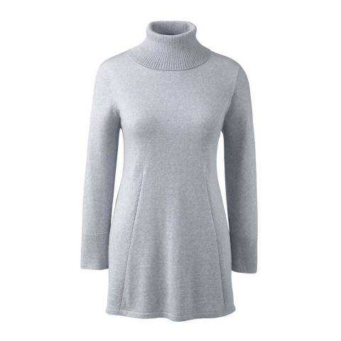 Lands End Titanium Grey Rollneck Merino Wool Tunic