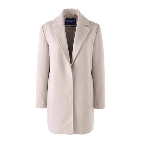Lands End Pale Blush Super Soft Wool Blend Parka Coat