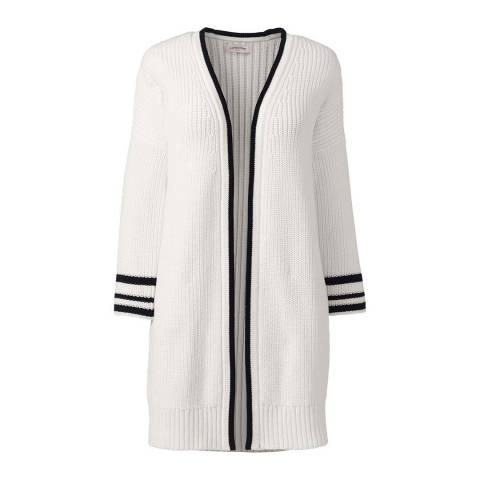 Lands End Eggshell White Drifter Bell Sleeve Open Cotton Cardigan