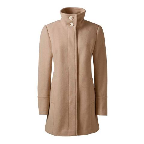 Lands End Camel Wool Blend Parka Coat
