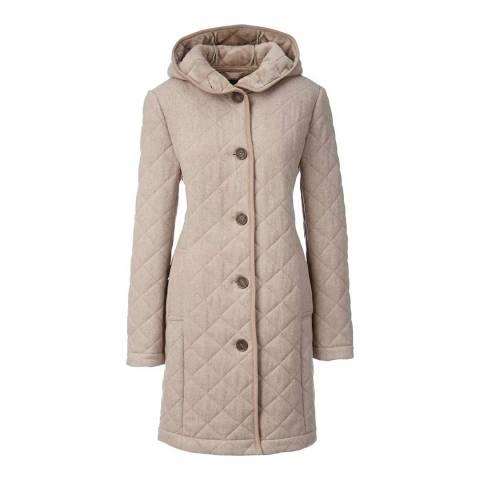 Lands End Beige Quilted Hooded Wool Blend Coat