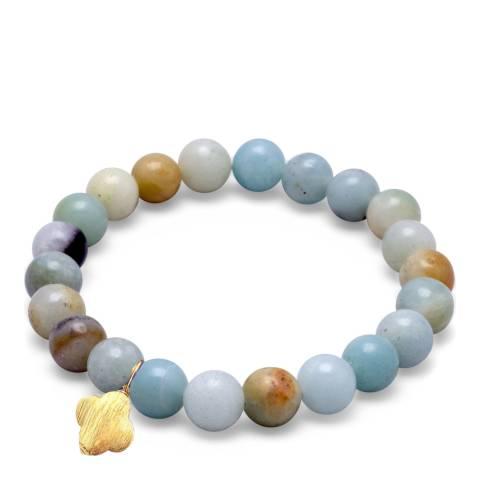 Liv Oliver Gold Amazonite Clover Charm Bracelet